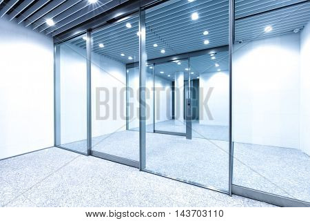 glass wall in modern office building