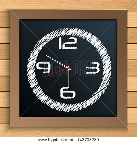 Illustration of Wall clock written by color chalk on blackboard