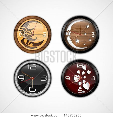 Illustration of Wall clock analog isolated white background