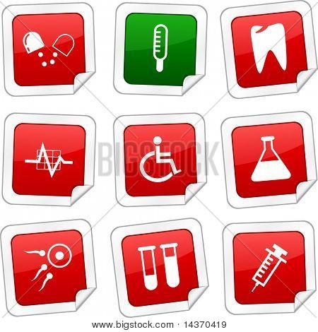Medical sticker set. Vector buttons.