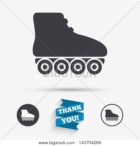 Roller skates sign icon. Rollerblades symbol. Flat icons. Buttons with icons. Thank you ribbon. Vector