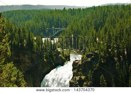 Waterfall and bridge in Yellowstone National Park.