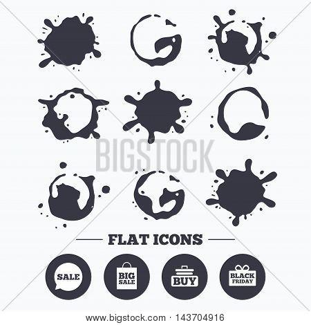 Paint, coffee or milk splash blots. Sale speech bubble icons. Buy cart symbols. Black friday gift box signs. Big sale shopping bag. Smudges splashes drops. Vector