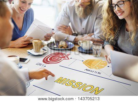 Mission Aim Target Vision Goals Ideas Aspiration Concept