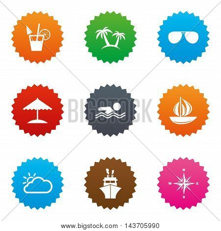 Cruise trip, ship and yacht icons. Travel, cocktails and palm trees signs. Sunglasses, windrose and swimming symbols. Stars label button with flat icons. Vector