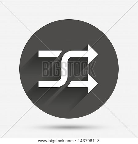 Shuffle sign icon. Random symbol. Circle flat button with shadow. Vector
