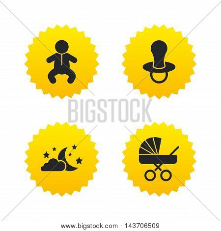 Moon and stars symbol. Baby infants icon. Buggy and dummy signs. Child pacifier and pram stroller. Yellow stars labels with flat icons. Vector