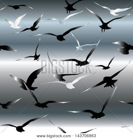 Stylish vector seamless pattern background  with flying black and white birds on the dark sky,Luxury illustration and royal 3d decor elements with shadow and highlights. Endless elegant  texture.