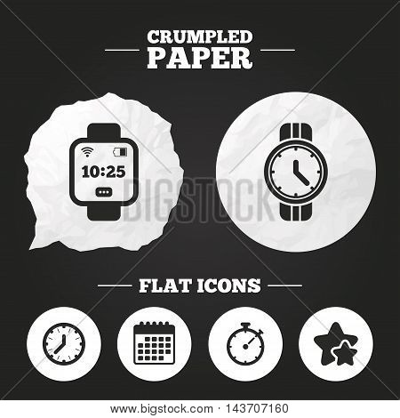 Crumpled paper speech bubble. Smart watch icons. Mechanical clock time, Stopwatch timer symbols. Wrist digital watch sign. Paper button. Vector