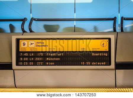 Departure Timetable In Berlin Tegel Airport (hdr)