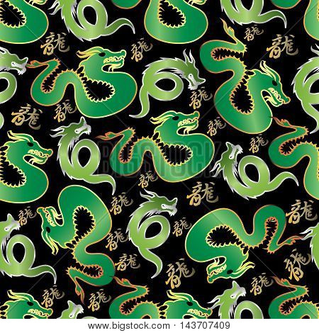 Modern elegant stylish vector seamless pattern with decorative  green dragons on the black background.