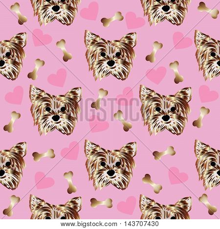 Stylish modern vector seamless pattern with nice yorkshire terrier, stones and love hearts on the glamour pink background. Luxury endless texture.
