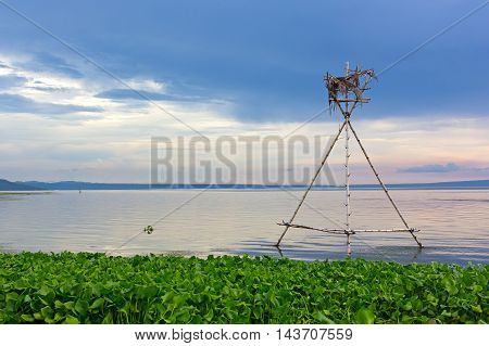 Tranquil morning on the Lake Taal Philippines. The lake panorama with mountains on horizon.