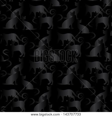 Dark black cats in the dark black room.Elegant stylish modern vector seamless pattern with black cats on the black background. Luxury magic illustration and royal 3d decor elements with shadow and highlights. Endless elegant  texture.