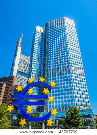 European Central Bank In Frankfurt (hdr)
