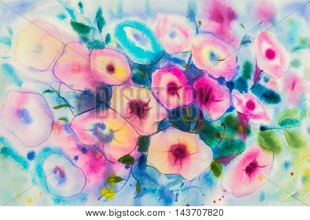 Abstract watercolor original painting purplepink color of morning flowers and green leaves of blue color background.