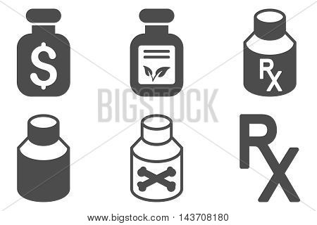 Drugs Vial vector icons. Pictogram style is gray flat icons with rounded angles on a white background.