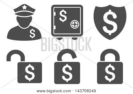 Financial Guard vector icons. Pictogram style is gray flat icons with rounded angles on a white background.