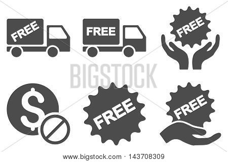 Free of Charge vector icons. Pictogram style is gray flat icons with rounded angles on a white background.