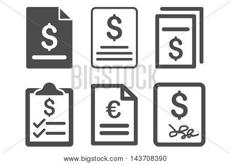 Invoice vector icons. Pictogram style is gray flat icons with rounded angles on a white background.