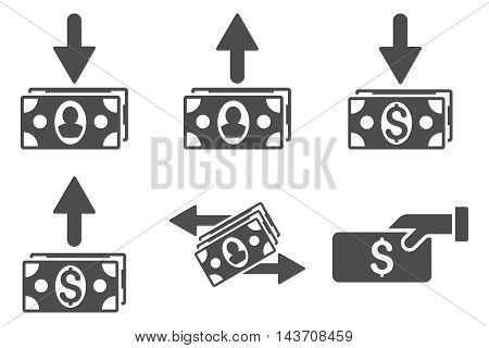 Pay Banknotes vector icons. Pictogram style is gray flat icons with rounded angles on a white background.