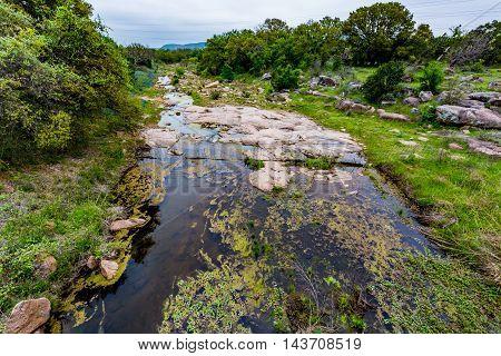 A Rocky Texas Creek With Wildflowers.
