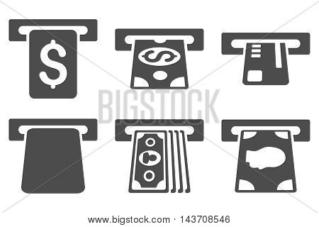 Payment Terminal vector icons. Pictogram style is gray flat icons with rounded angles on a white background.
