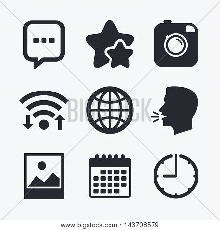 Social media icons. Chat speech bubble and world globe symbols. Hipster photo camera sign. Landscape photo frame. Wifi internet, favorite stars, calendar and clock. Talking head. Vector