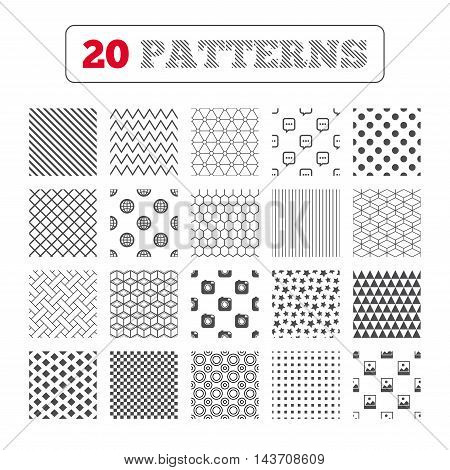 Ornament patterns, diagonal stripes and stars. Social media icons. Chat speech bubble and world globe symbols. Hipster photo camera sign. Landscape photo frame. Geometric textures. Vector