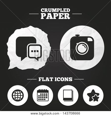 Crumpled paper speech bubble. Social media icons. Chat speech bubble and world globe symbols. Hipster photo camera sign. Polaroid photo frames. Paper button. Vector