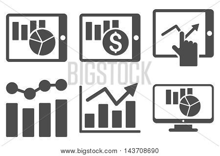 Sales Charts vector icons. Pictogram style is gray flat icons with rounded angles on a white background.