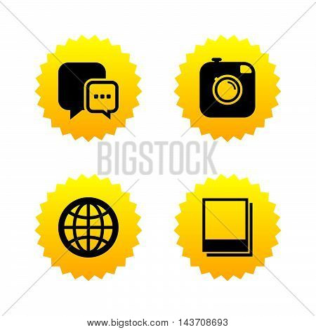 Social media icons. Chat speech bubble and world globe symbols. Hipster photo camera sign. Polaroid photo frames. Yellow stars labels with flat icons. Vector