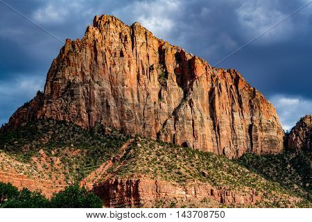 Evening Sunlight on Beautiful Rock Formations in Zion National Park Utah.