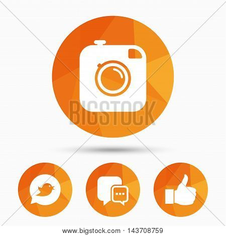 Hipster photo camera icon. Like and Chat speech bubble sign. Bird symbol. Triangular low poly buttons with shadow. Vector