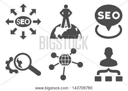 Seo Marketing vector icons. Pictogram style is gray flat icons with rounded angles on a white background.