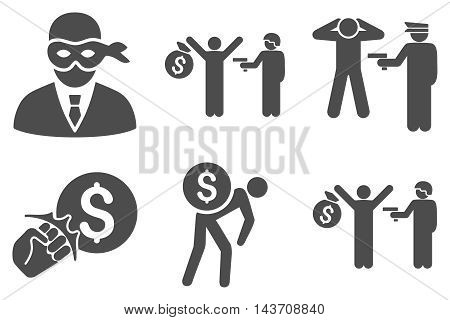Thief Arrest vector icons. Pictogram style is gray flat icons with rounded angles on a white background.