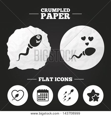 Crumpled paper speech bubble. Sperm icons. Fertilization or insemination signs. Safe love heart symbol. Paper button. Vector