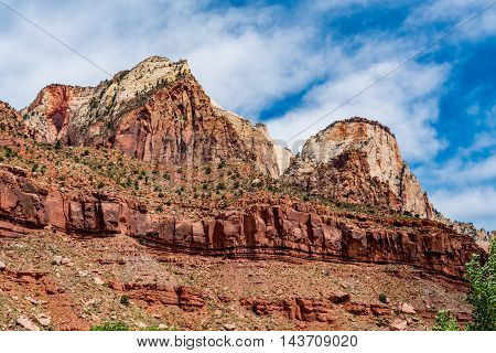 Colorful Sandstone Peaks, Cliffs and Rock Formations in Zion National Park Utah.
