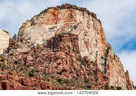 Beautiful Peaks, Cliffs and Rock Formations in Zion National Park Utah.