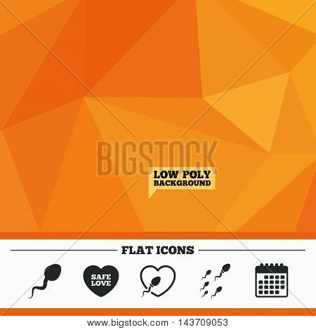 Triangular low poly orange background. Sperm icons. Fertilization or insemination signs. Safe love heart symbol. Calendar flat icon. Vector