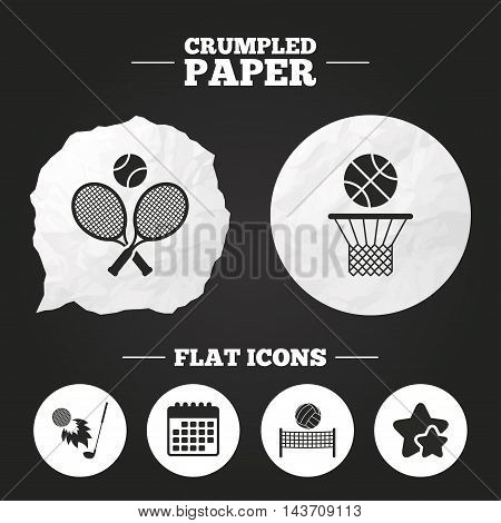 Crumpled paper speech bubble. Tennis rackets with ball. Basketball basket. Volleyball net with ball. Golf fireball sign. Sport icons. Paper button. Vector