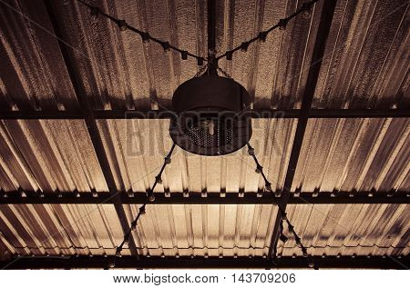 Steel lamp hanging for lighting warm tone