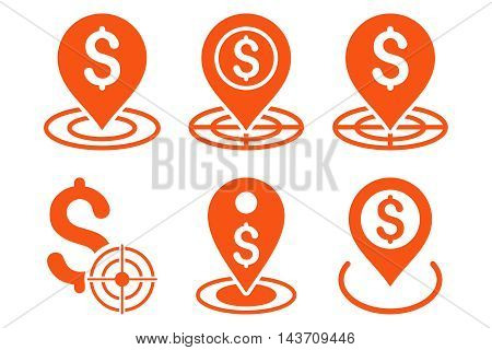 Business Goal vector icons. Pictogram style is orange flat icons with rounded angles on a white background.