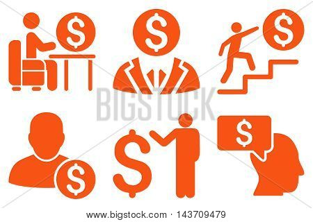Businessman vector icons. Pictogram style is orange flat icons with rounded angles on a white background.