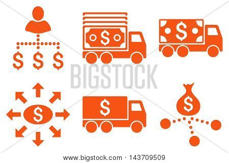 Cash Delivery vector icons. Pictogram style is orange flat icons with rounded angles on a white background.