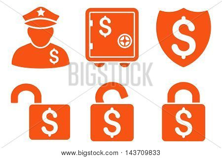 Financial Guard vector icons. Pictogram style is orange flat icons with rounded angles on a white background.