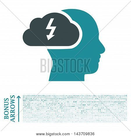 Brainstorming icon with 1200 bonus arrow and direction pictograms. Vector illustration style is flat iconic bicolor symbols, soft blue colors, white background.