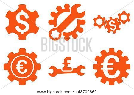 Financial Settings vector icons. Pictogram style is orange flat icons with rounded angles on a white background.