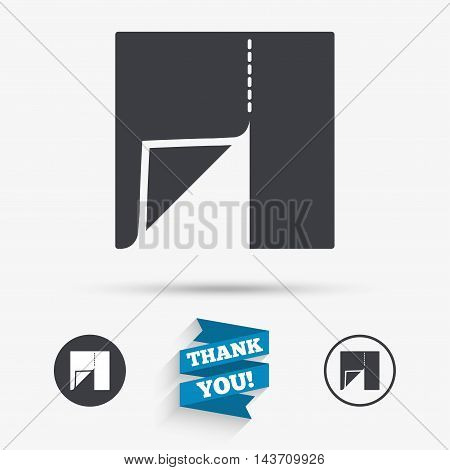Textile cloth piece sign icon. Tailor symbol. Flat icons. Buttons with icons. Thank you ribbon. Vector