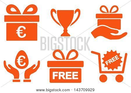 Gift vector icons. Pictogram style is orange flat icons with rounded angles on a white background.